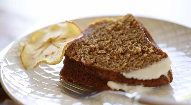 Apple Spice Cake Recipe sliced on plate with dehydrated apple garnish