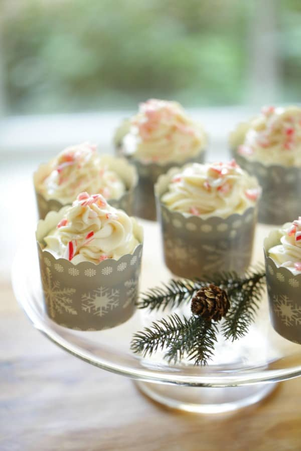 Candy Cane Cupcakes on a platter