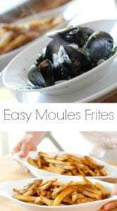 Easy Moules Frites served in a white dish