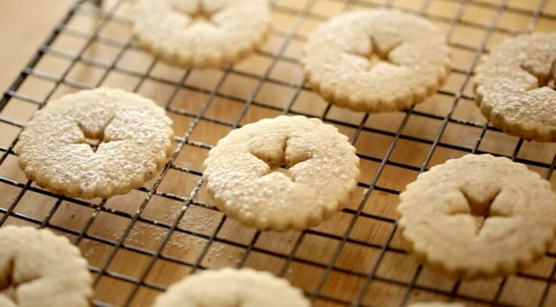 Tops for Chocolate Hazelnut Linzer Cookies dusted with powdered sugar