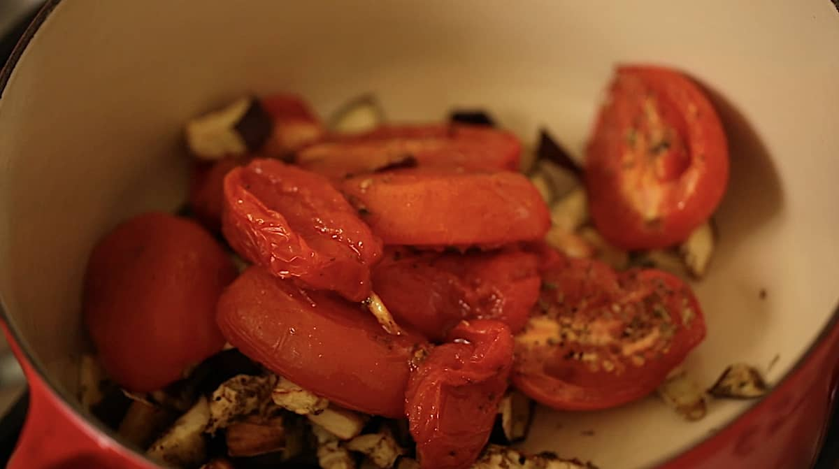 roasted tomatoes and eggplant in a pot