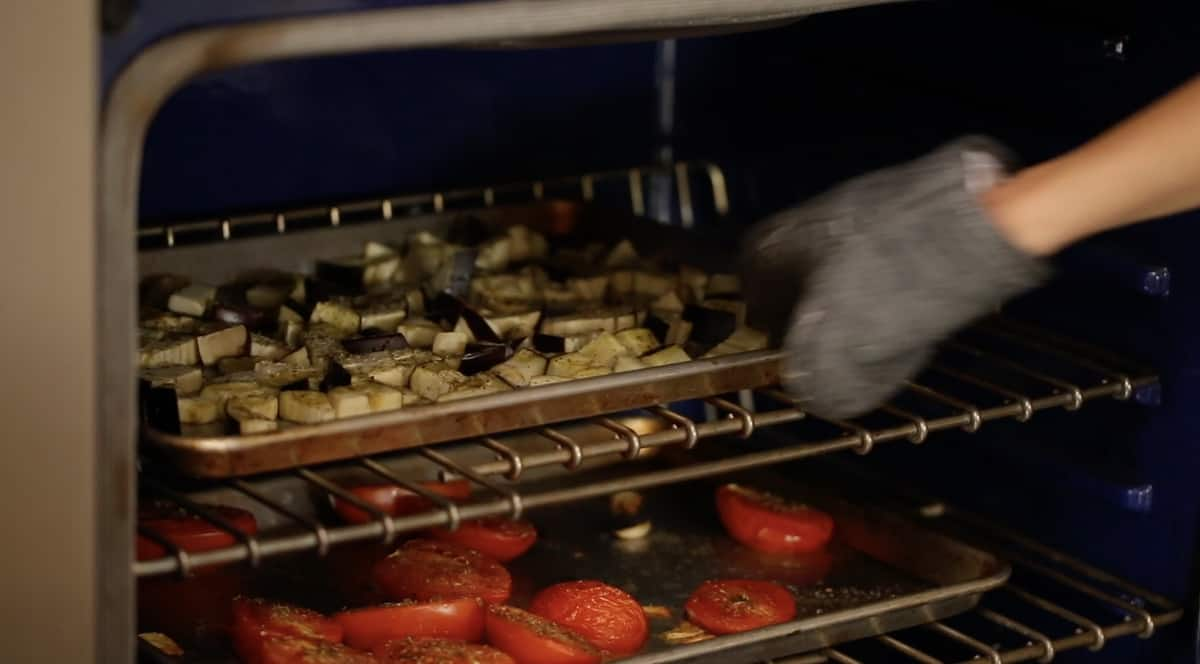 vegetable trays baking in the oven