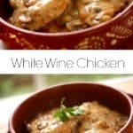 White wine chicken in a terra cotta pot