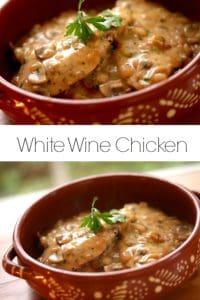 White wine chicken in a terra cotta pot