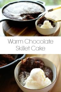 Warm Chocolate Skillet Cake with vanilla ice cream