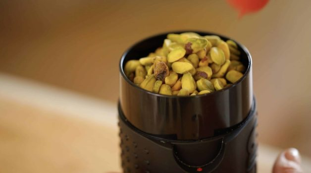 Pistachios about to be ground into Pistachio Flour for Pistachio Olive Oil Cake Recipe