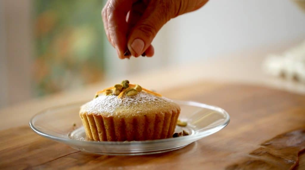 Topping Pistachio Olive Oil Cakes with Garnishes
