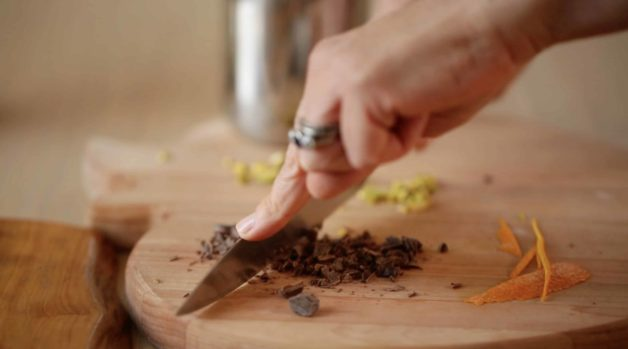 Chopping Bittersweet Chocolate for Pistachio Olive Oil Cake Garnish