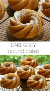 Earl Grey Pound Cakes on wire Cake Stand dusted with powered sugar