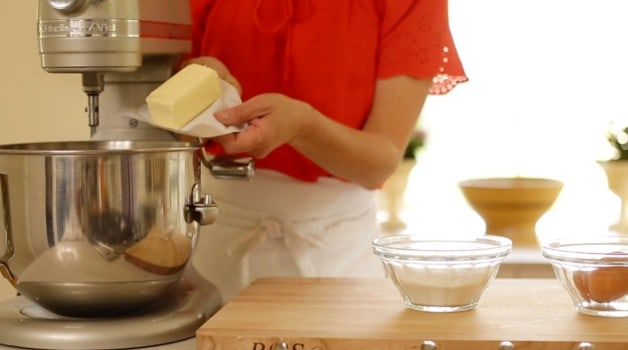 Adding butter to stand mixer