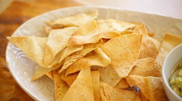 Homemade Pita Chips on a platter