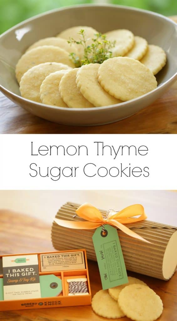 Lemon Thyme Sugar Cookies in a bowl with a sprig of Thyme