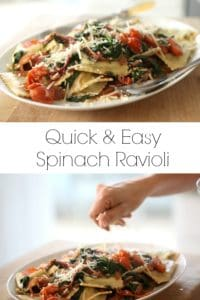 Spinach Ravioli with Sautéed Veggies