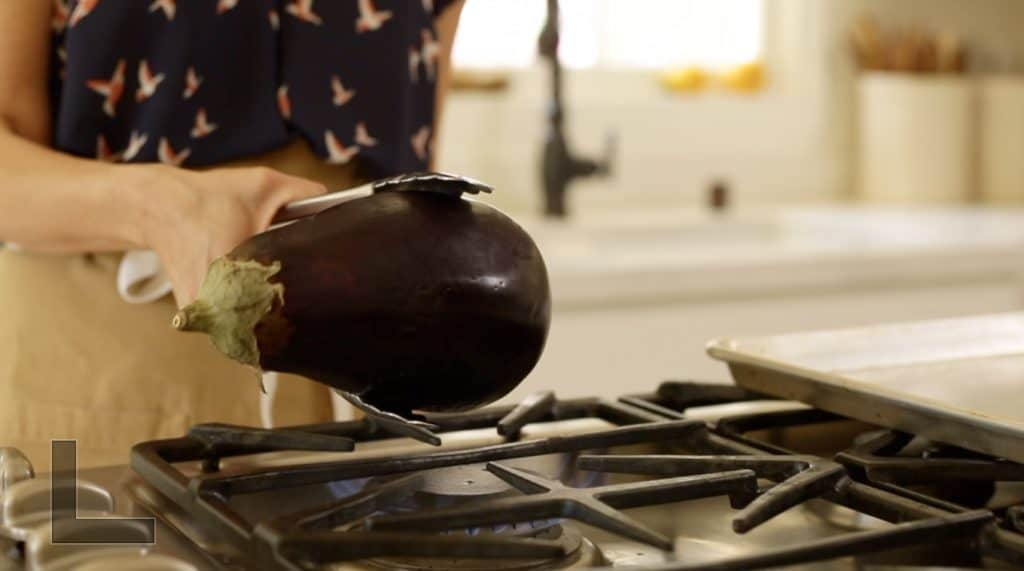 Roasting Eggplant over a gas cooktop