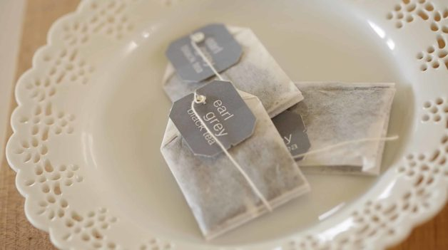 Earl Grey Tea Bags on Pierced white plate for Earl Grey Pound Cake Recipe