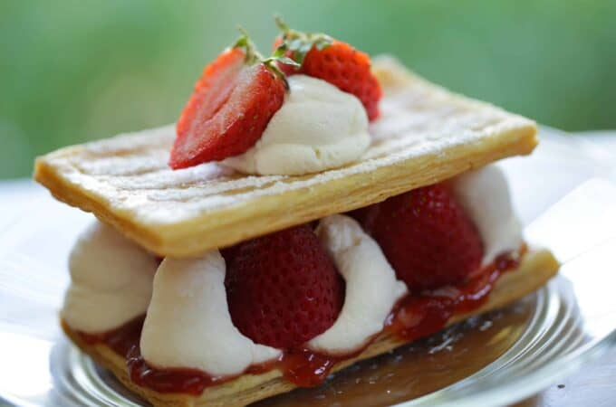 Strawberry Napoleon on a plate