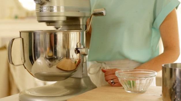Mixer creating meringue topping