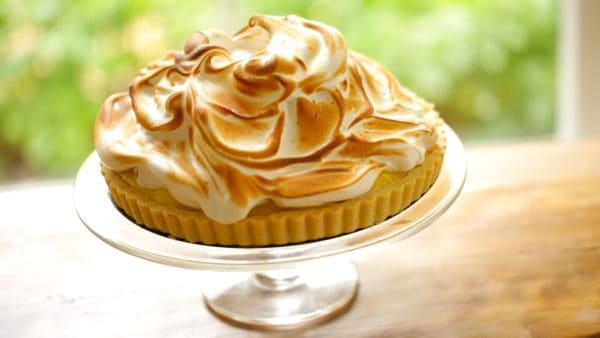 Lemon Meringue Tart Recipe on Cake Stand