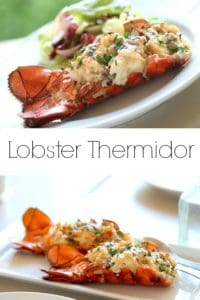 Lobster Thermidor on white plate