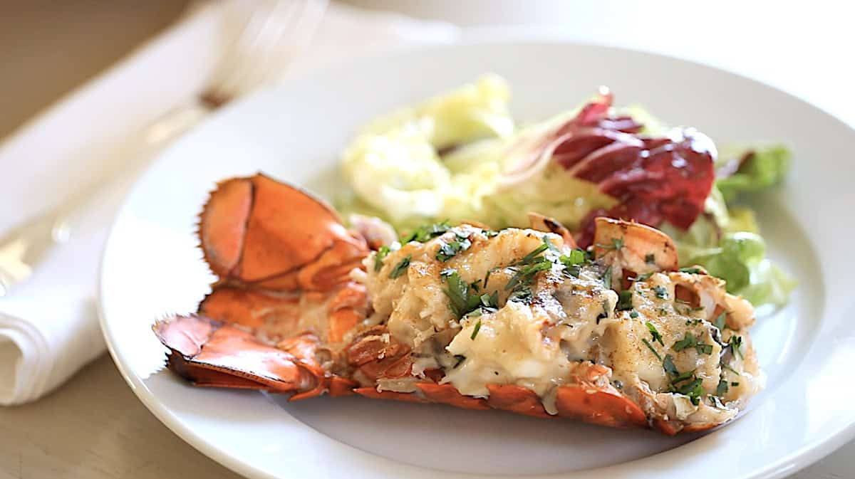 Lobster Thermidor on a plate served with a salad