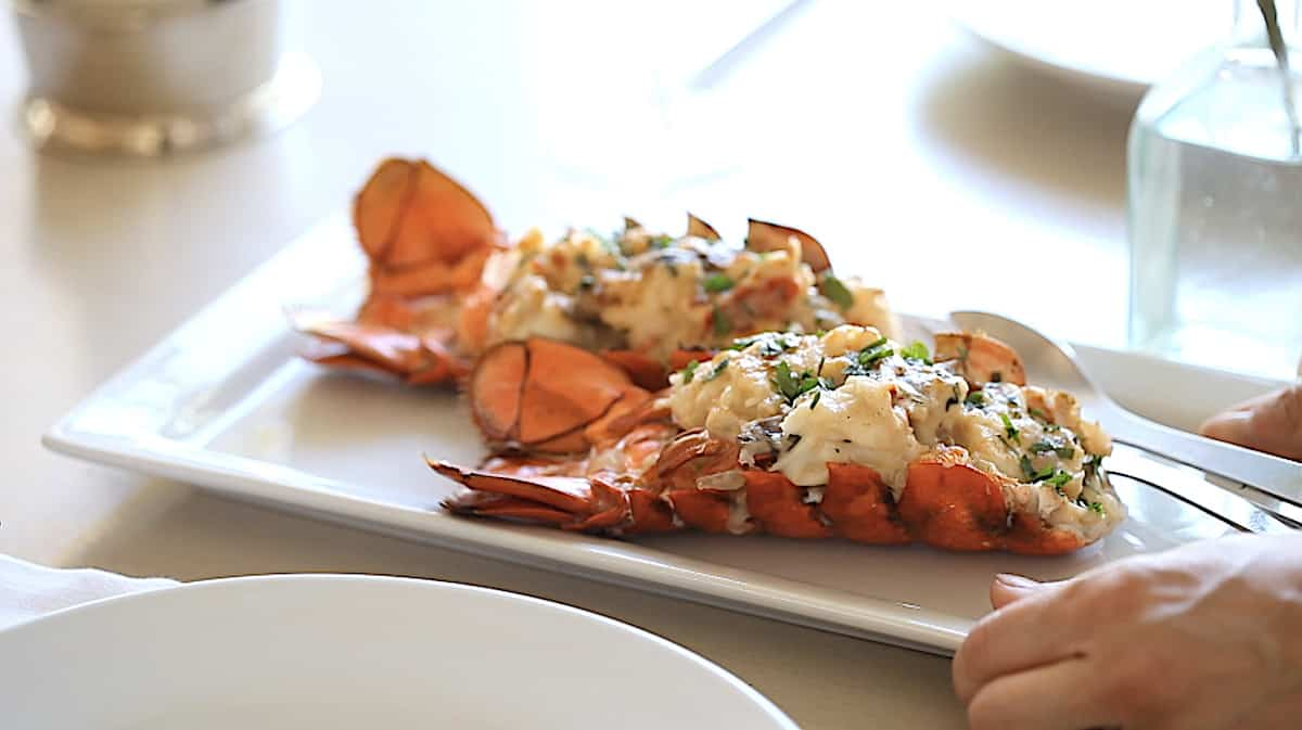 Two Lobster Thermidors on a white platter