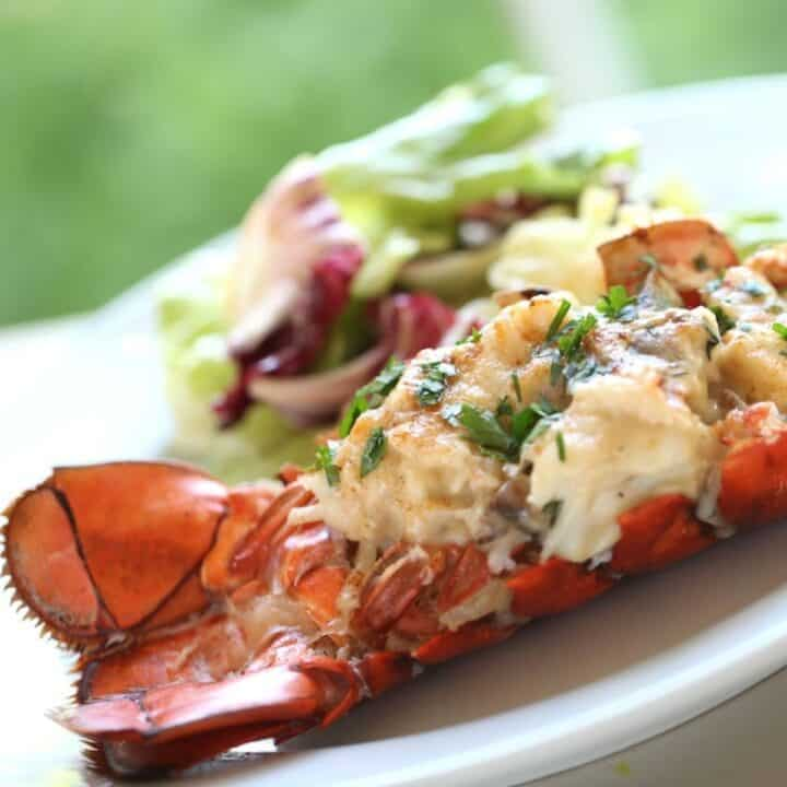 Lobster Shell Filled with Lobster Thermidor Mixture