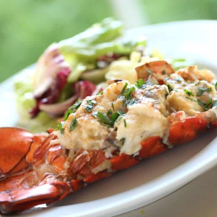 Lobster Thermidor on a Plate with Salad