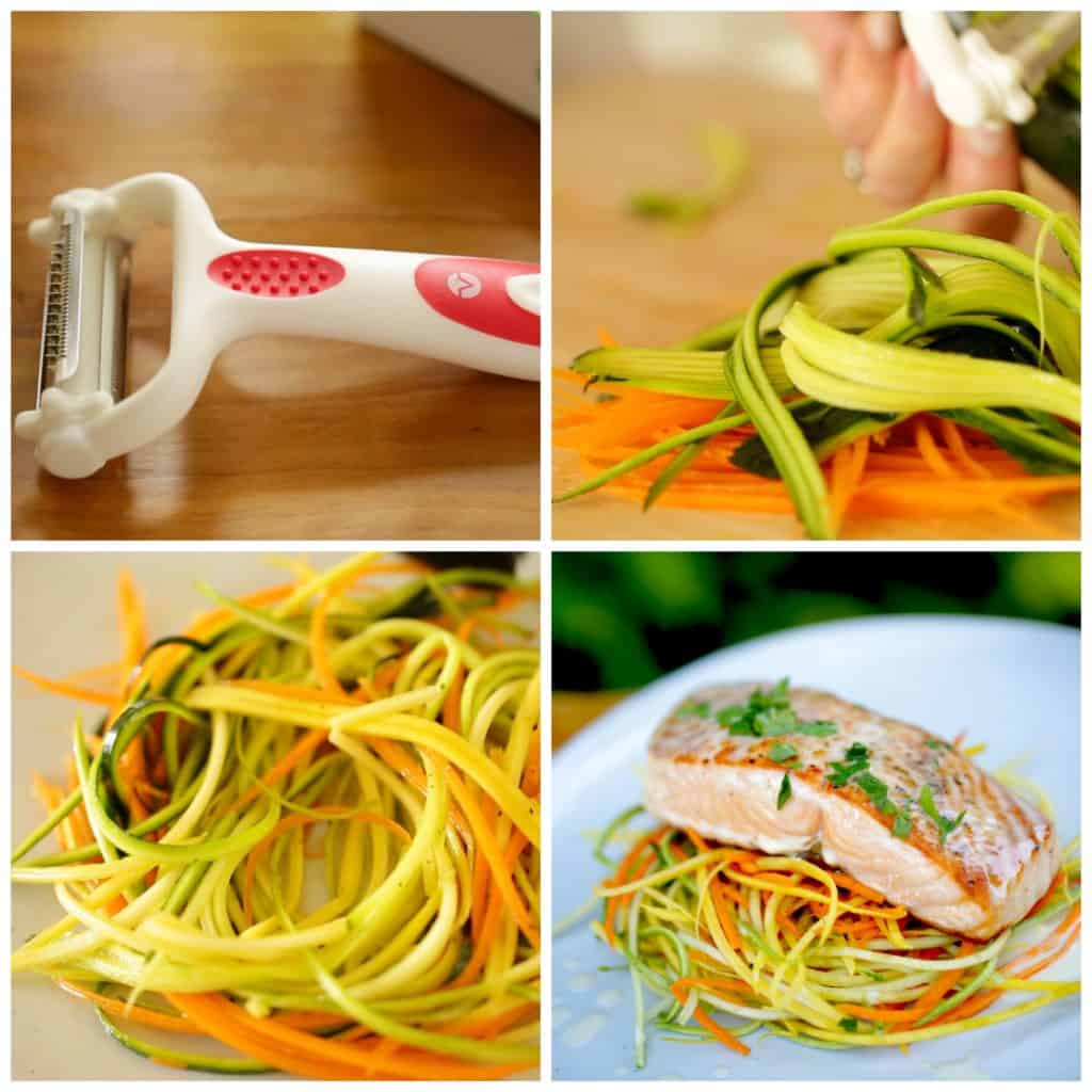 3-in-one vegetable peeler and images of veggie nests