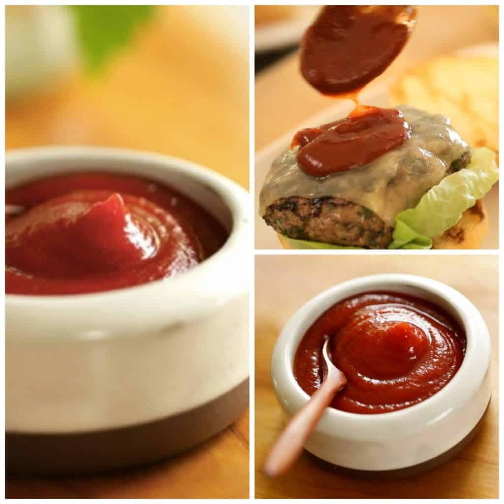 a collage of smokey ketchup shots
