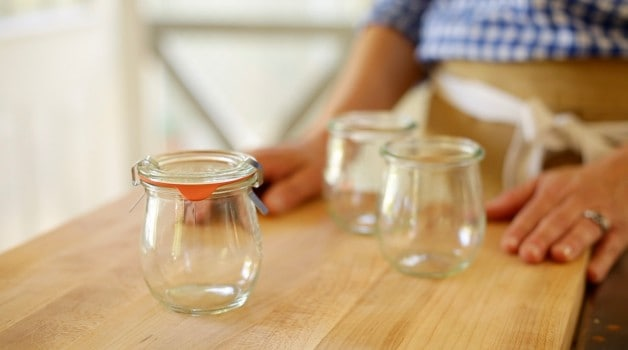Weck Jam Jars on a wooden cutting board