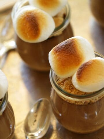 S'More Pudding Pots on silver tray