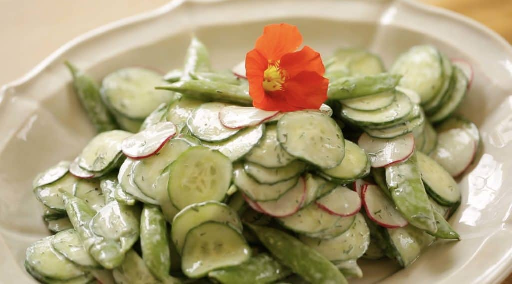Creamy Cucumber Dill Salad Recipe on a plate garnished with a nasturium