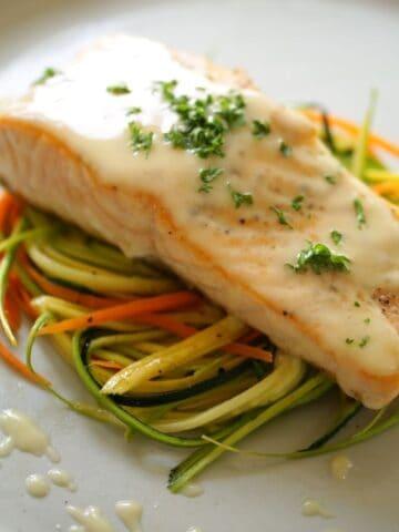 Seared Salmon Recipe on a Veggie Nest