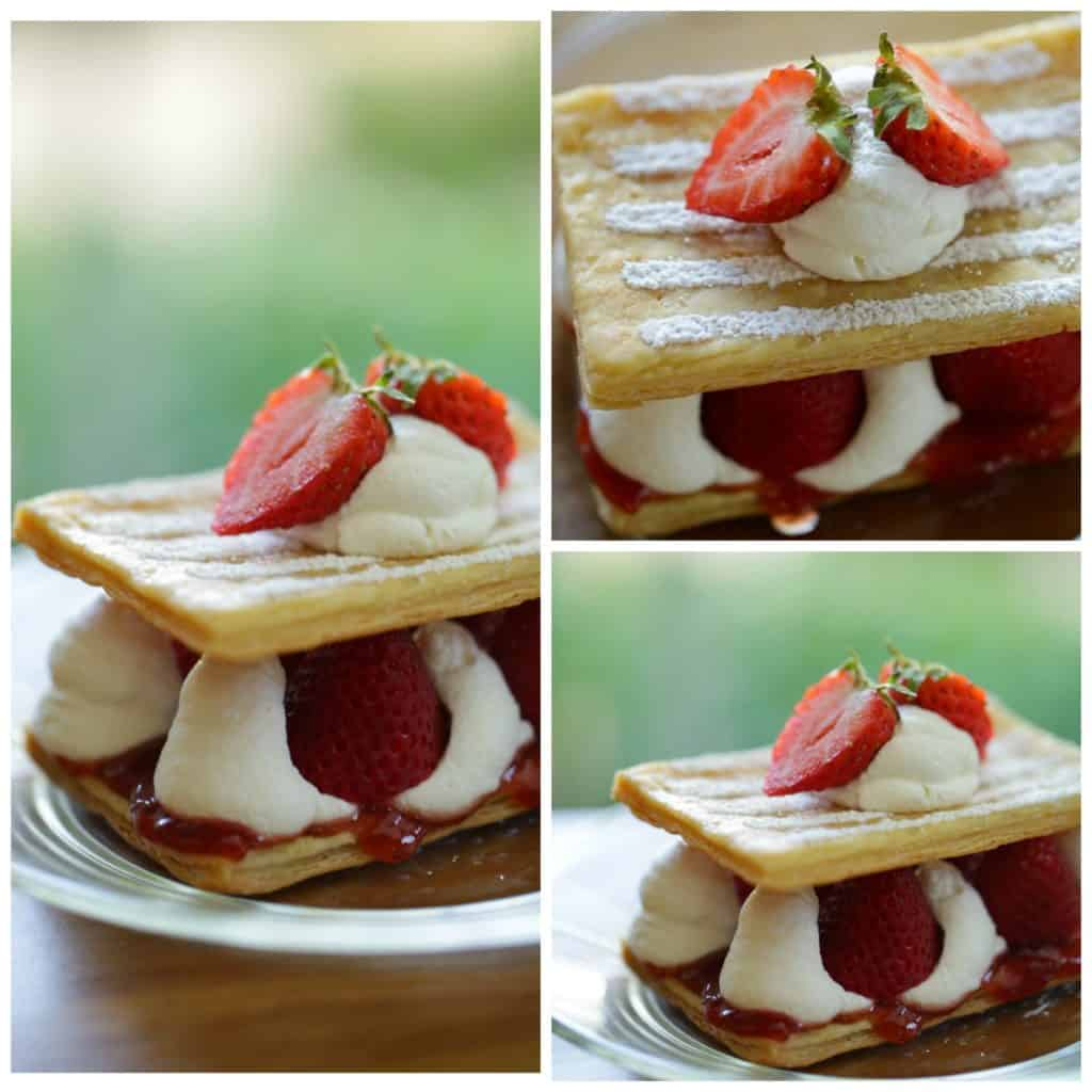 Collage of various Strawberry Napoleons on a plate