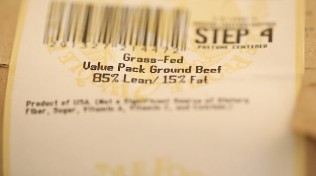 Package of Beef marked with the percentage of fat content