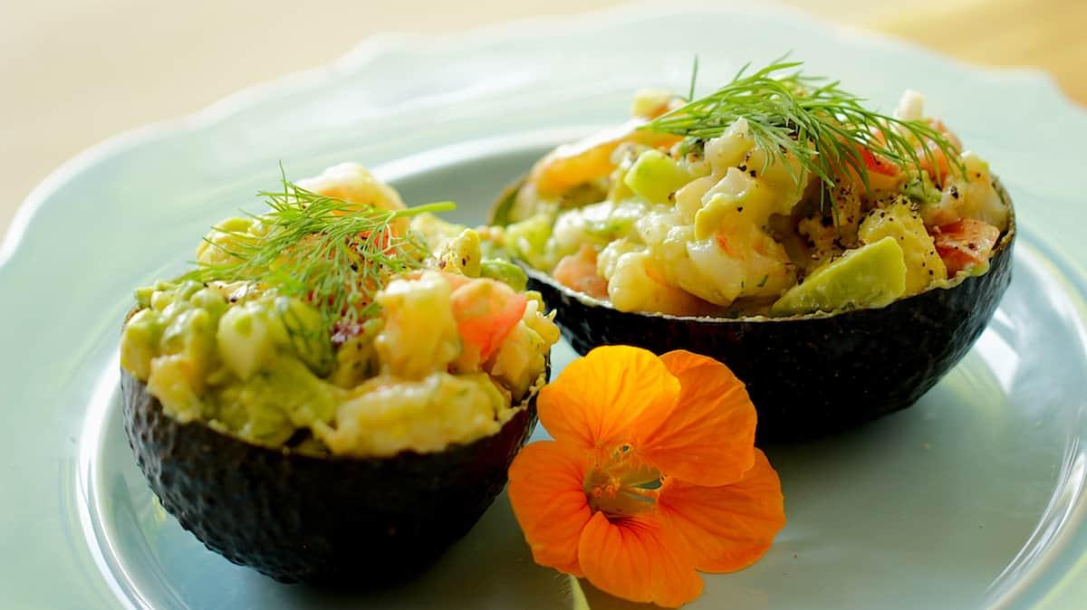 Avocado Shrimp Cup Salad on a Blue Plate