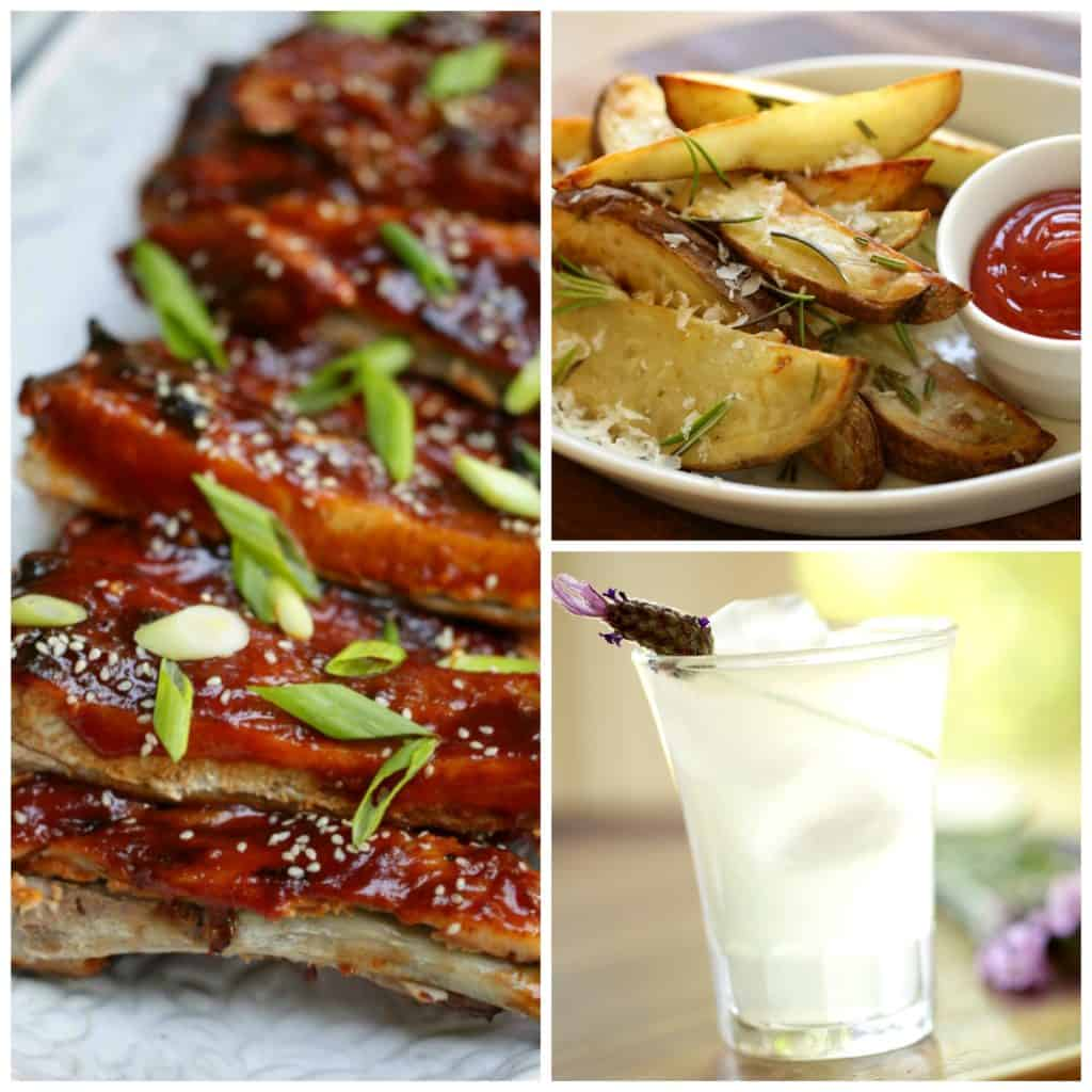 Collage of recipes associated with the Entertaining with Beth Summer Condiment Collection. BBQ Ribs, Lavender Lemonade and oven fries pictured