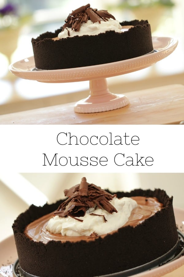 How to Make a Chocolate Mousse Cake recipe served on a pink cake stand