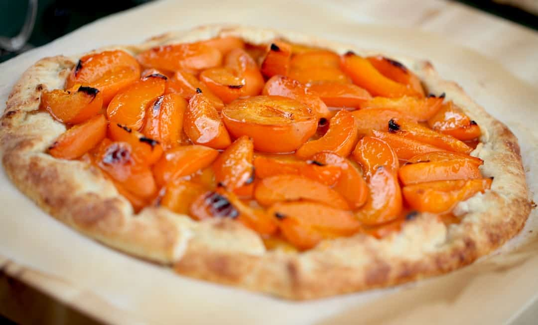 Apricot Galette on a board for serving
