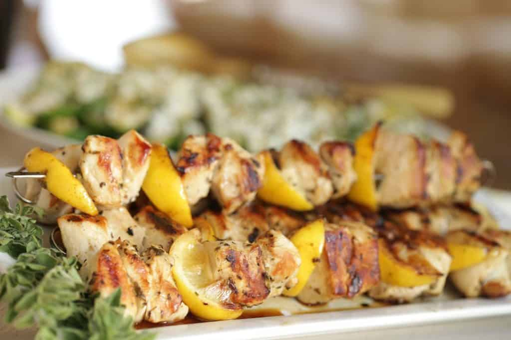 Grilled Chicken Brochettes with Lemon and zucchini salad