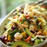 Shrimp Salad with Avocado and Mango recipe on a platter