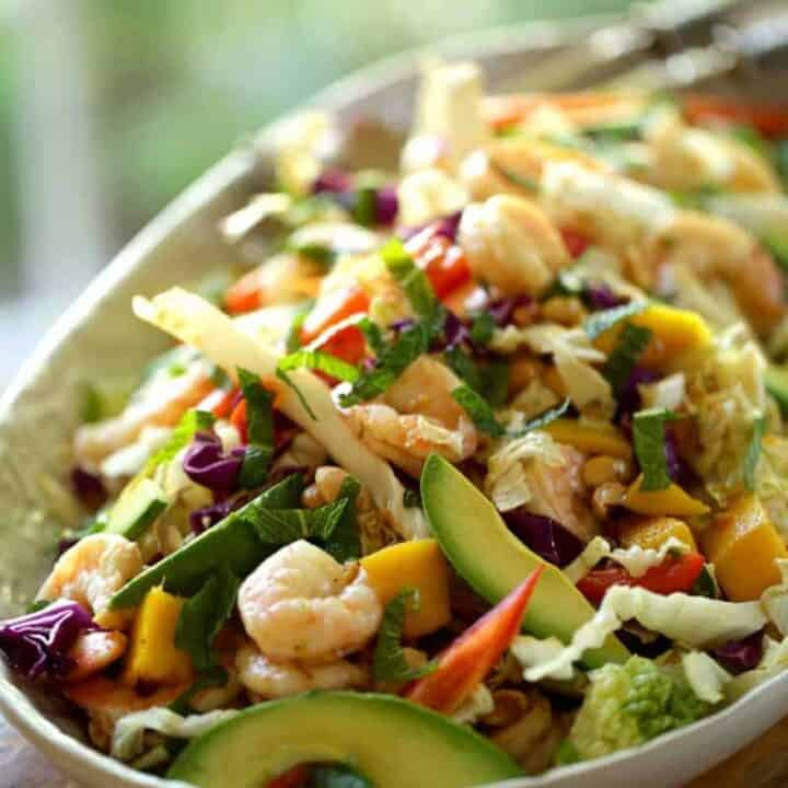 Shrimp Salad with Avocado and Mango recipe on a platter