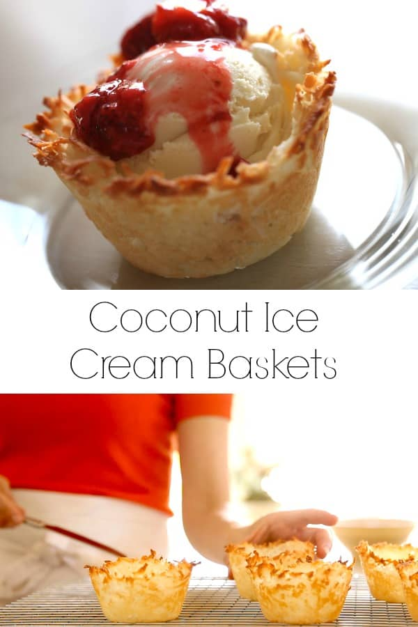 Collage of Coconut Ice CReam baskets topped with Strawberry Sauce