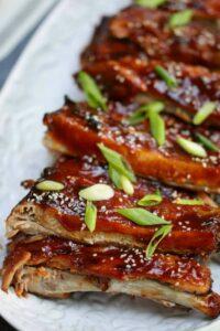 Vertical shot of BBQ Ribs recipe on a platter