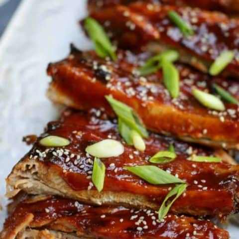 Vertical shot of BBQ Ribs recipe on a platter