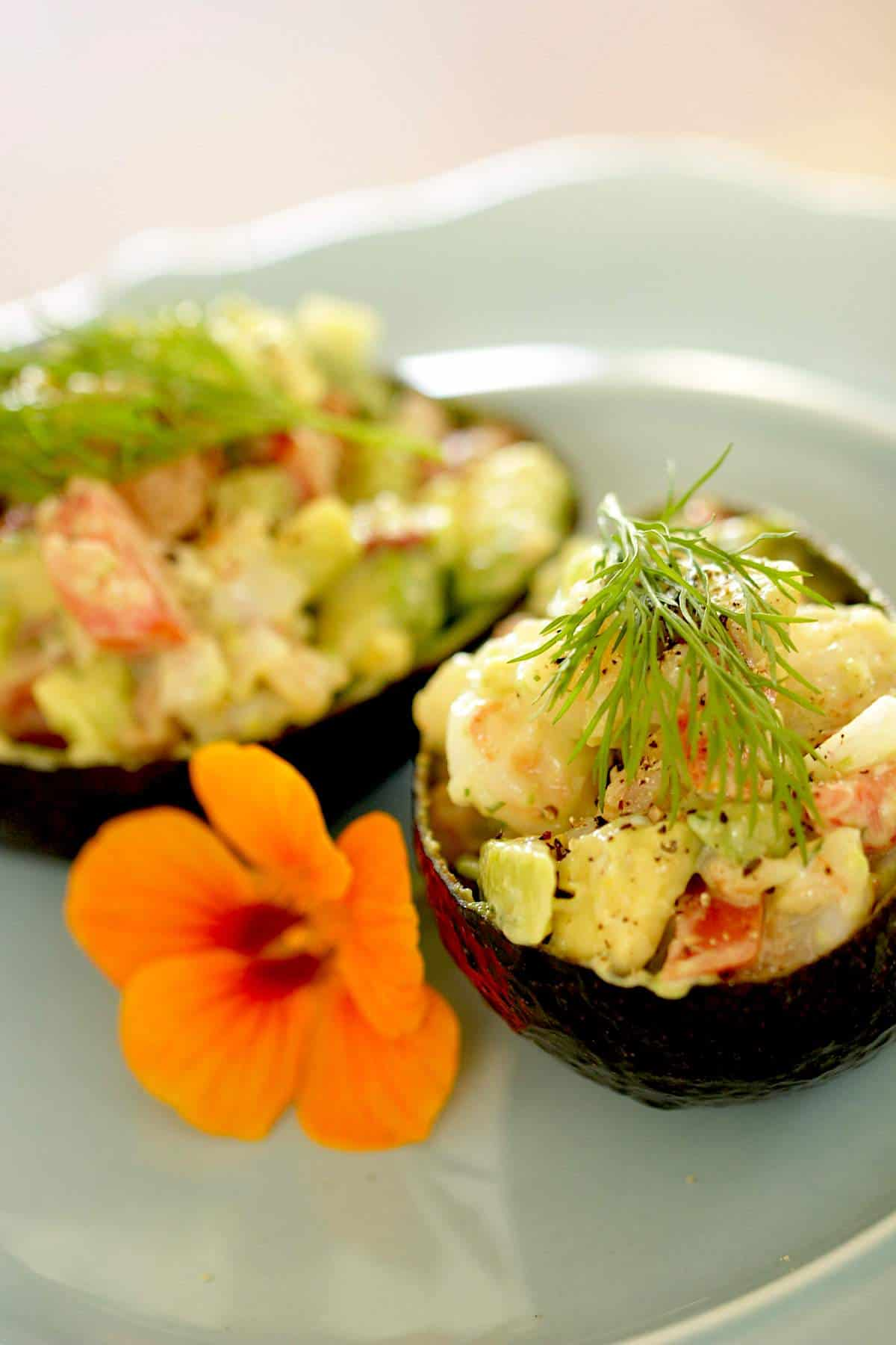 Avocado shells filled with shrimp salad