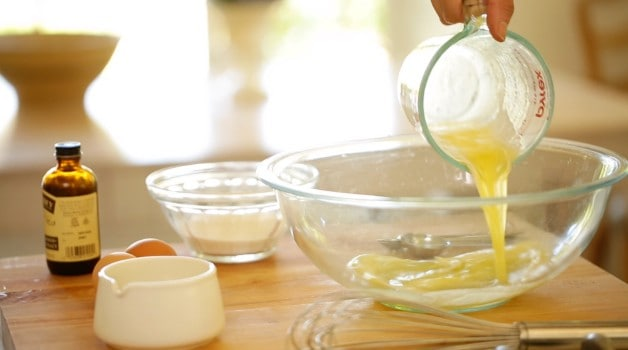 Egg mixture in large mixing bowl