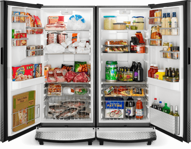 An opened upright refrigerator and freezer