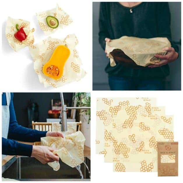 A collage of Bee's Wrap Sustainable Food Storage