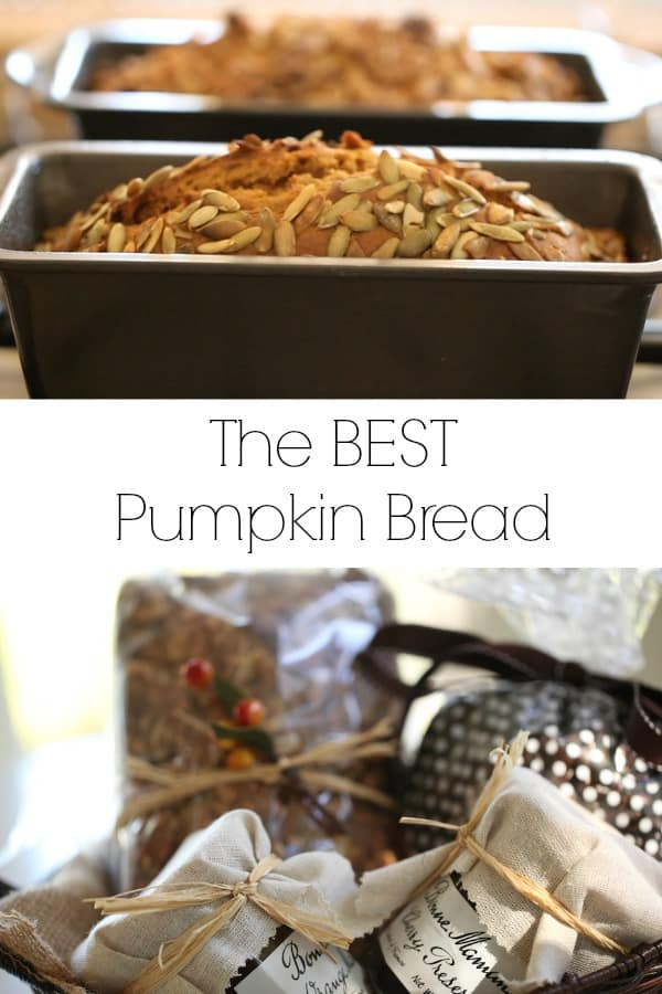 Collage of Pumpkin Bread in Pan and in Basket ready to be gifted
